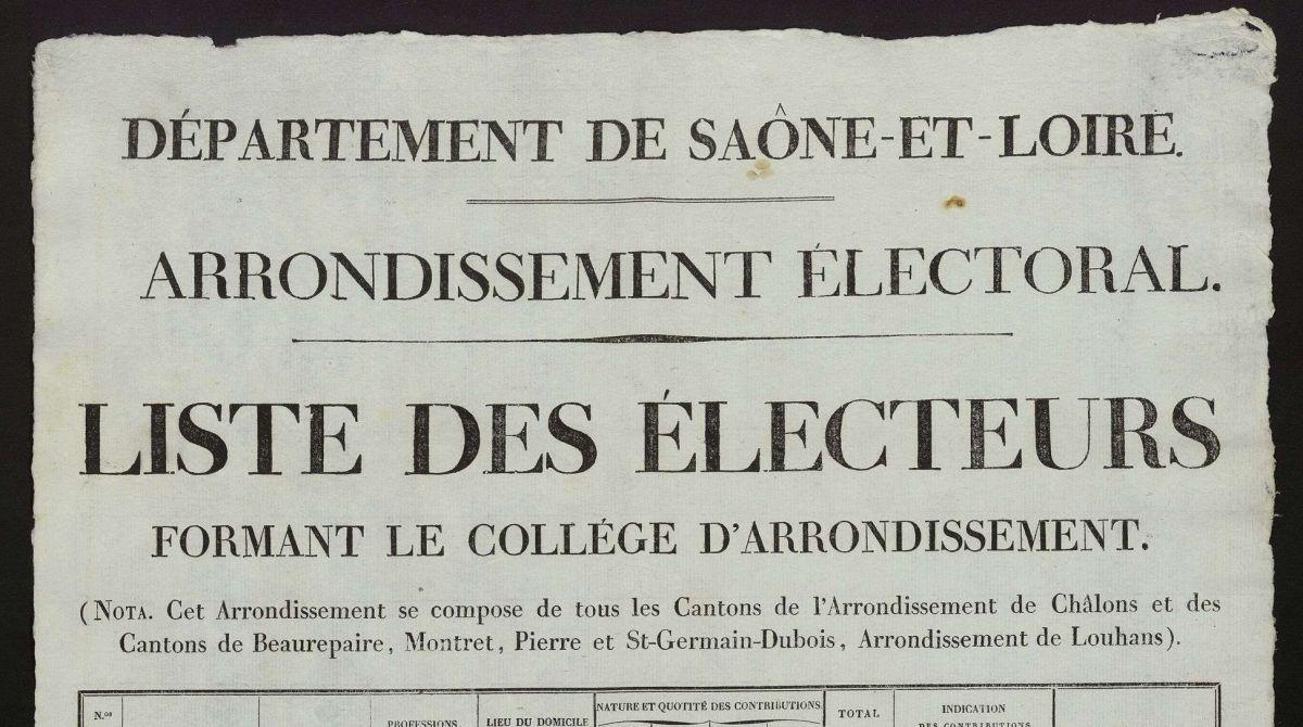 Liste électorale 1820